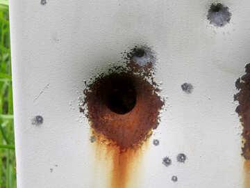 Дырка от пули в железе №29021