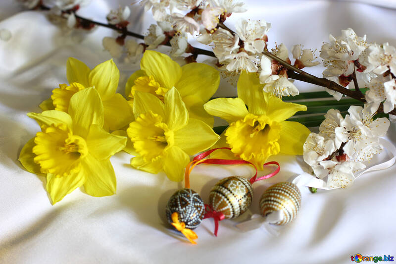 Easter background with flowers №29977
