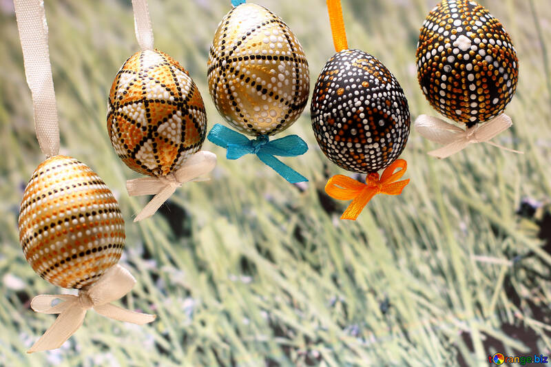 Background with Easter eggs and grass №29786