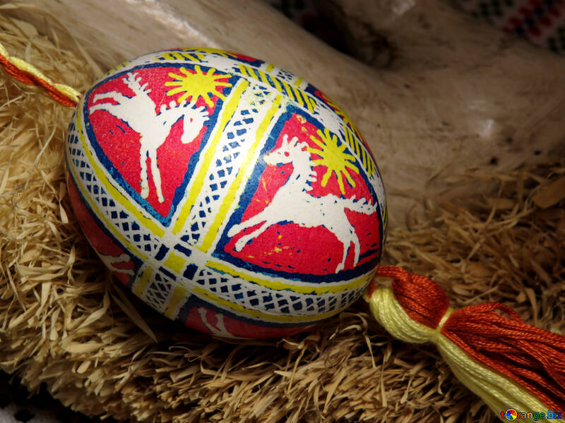 Pattern on an Easter egg horse №29399