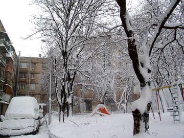 Stadt nachher Schneefälle №3436