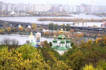 Vydubychi monastery and railroad bridge under construction behalf Yubileiny entrance canopy  №3344