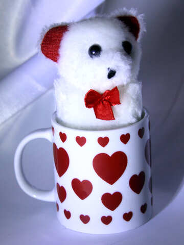 Mug with hearts. A gift for employees on the day of St. Valentine. №3601
