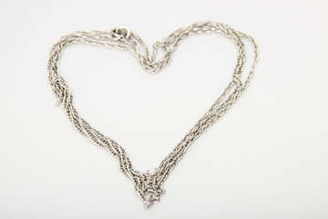 The silver chain in the form of heart №3569