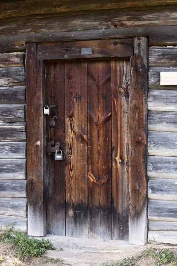 old door with modern locks  №3307