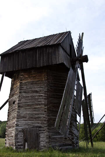 Old wooden windmill tower architecture  №3284