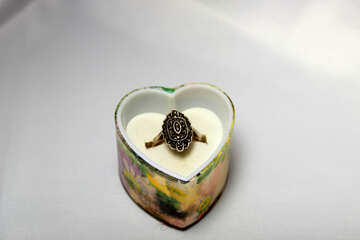 Ring in gift box in shape of heart. №3562