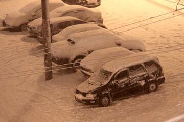 parking, night, snow  №3463