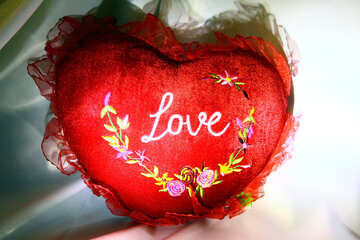 Pillow red heart embroidered №3618