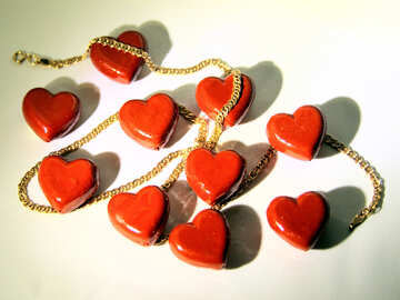 Hearts and gold chain №3634