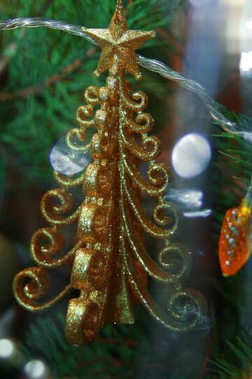 Christmas-tree decoration - gold fur-tree №3937
