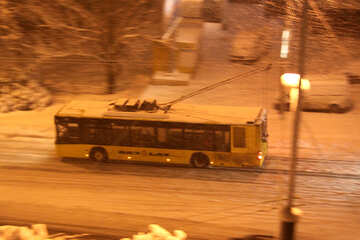 trolley rides. Night. Snow . №3486
