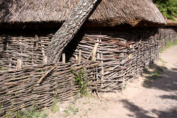 Wicker fence and house with thatched roof  №3109