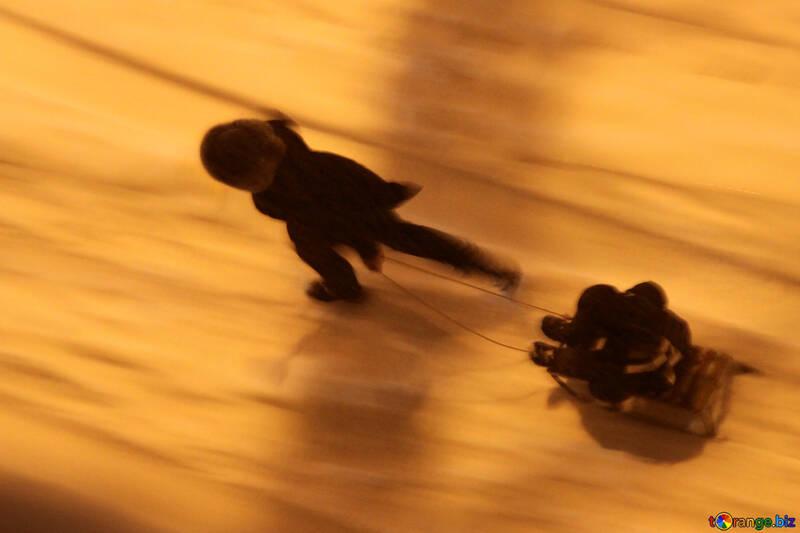 Child sledding  №3481