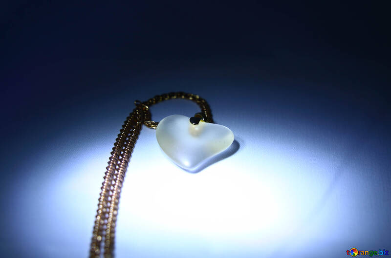 Flower for Valentine`s Day from the heart and gold chain №3583