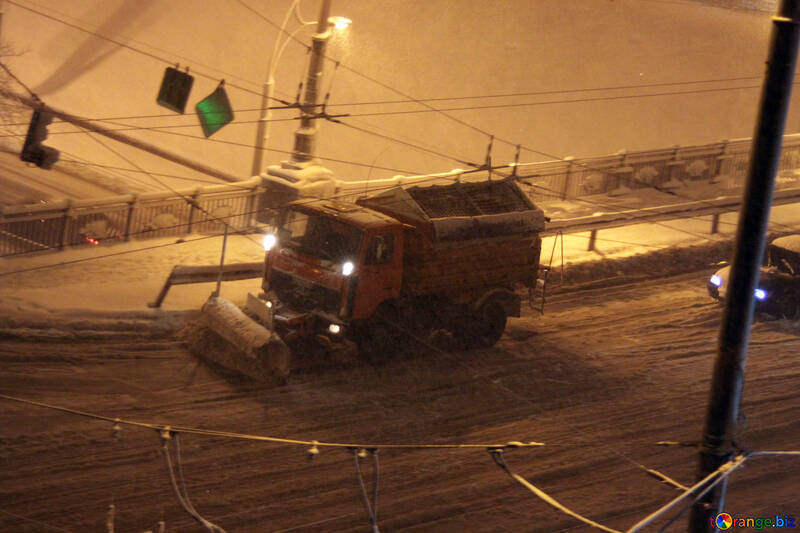 Thrower  removes  snow  by night №3482