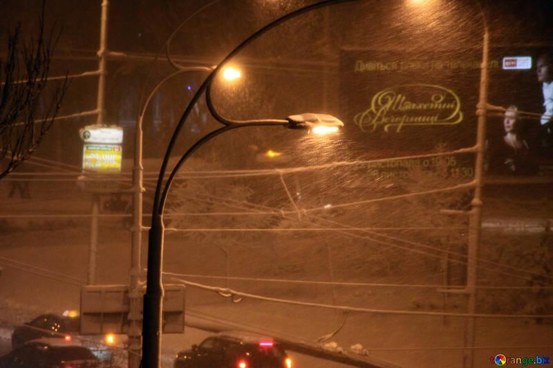 Night snowfall   №3484