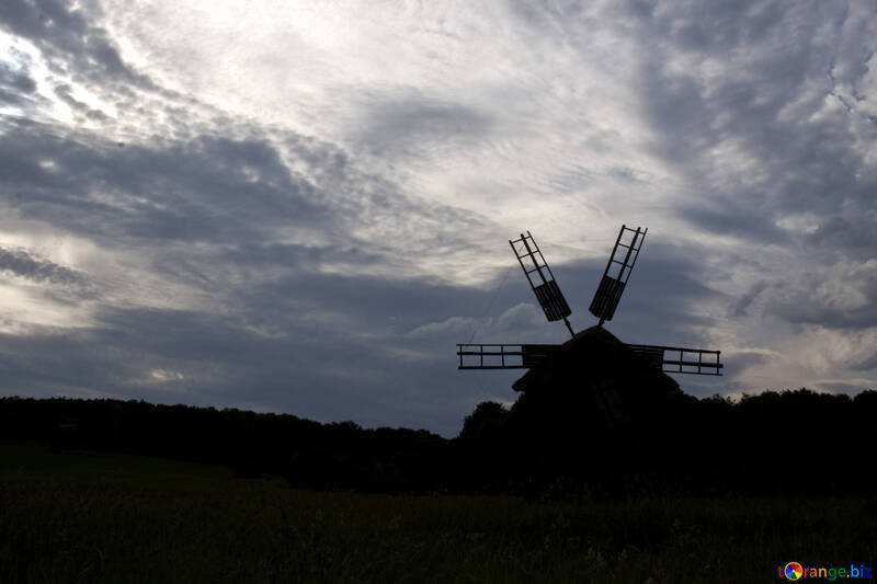 A silhouette of windmill tower architecture  №3286