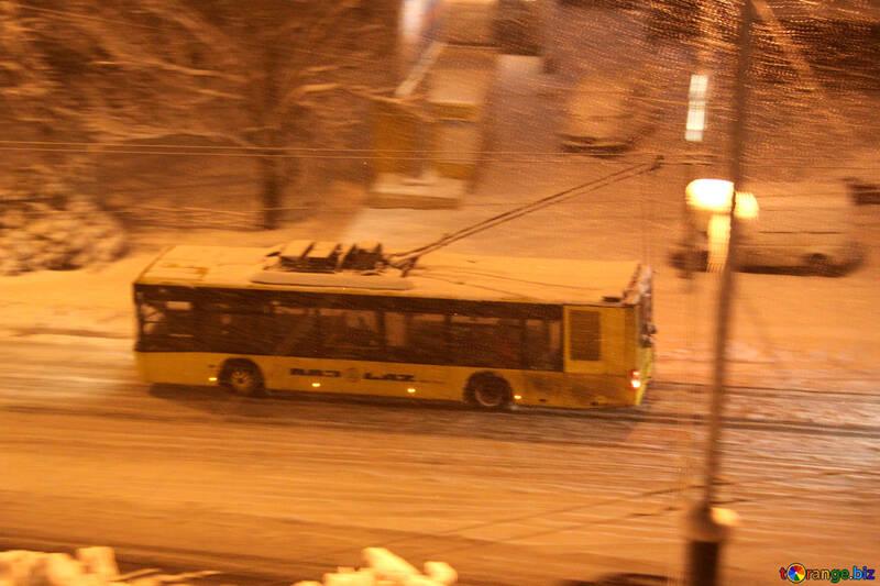 trolley rides. Night. Snow . №3486