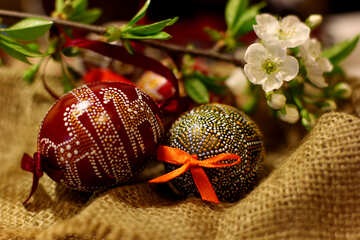 Easter eggs and sprig of flowering tree №30120