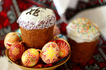 Plate with Easter eggs and