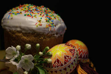 Easter with colored eggs isolated on dark background №30152