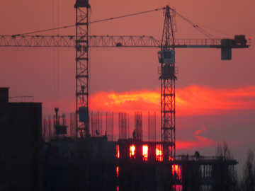 Sunset on background construction №30336