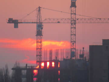 Sun sunset and construction
