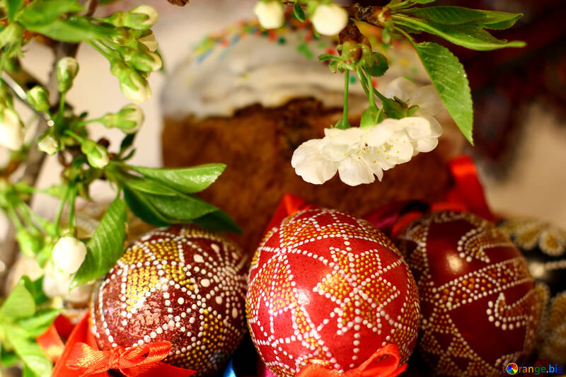 Easter eggs under the branch of flowering tree №30127