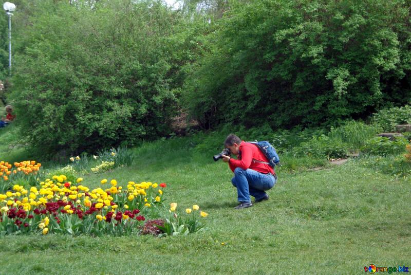 Fotografen Ein Fotograf Nimmt Bild Von Blumen Erholung 30363