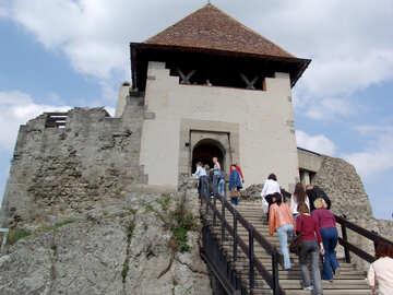 Tourists visit the medieval castle №31806