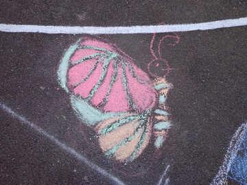Butterfly kids drawing chalk №32586