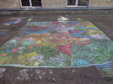 Child`s drawing chalk on asphalt №32568