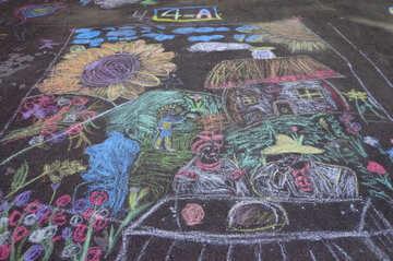 Kids drawing chalk Ukraine №32571