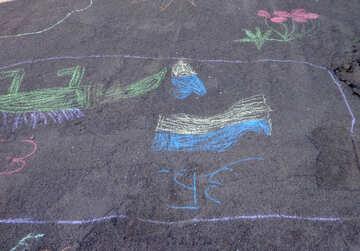 Patriotic kids drawing chalk №32582