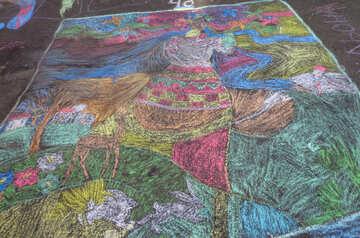 Picture of chalk on asphalt №32569