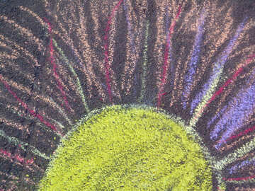 The Sun child`s drawing with chalk №32595
