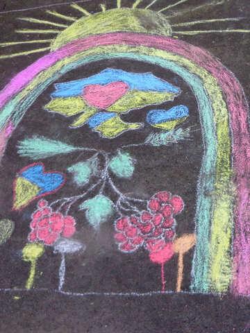 Ukraine children`s picture of chalk on asphalt №32601