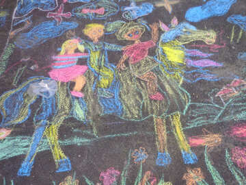 Children drawing with chalk №32606