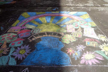 Children`s drawing contest on asphalt №32566
