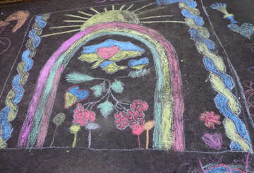 Children`s painting on the pavement about Ukraine №32600