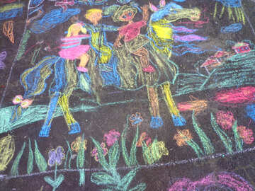 The texture of children`s drawing on asphalt №32605