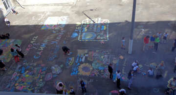 Children`s drawing contest on asphalt №32612