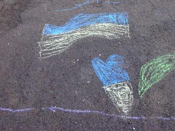 Child`s drawing chalk flag of Ukraine №32581