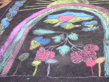 Rainbow children`s painting on the pavement №32602