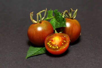 Fresh tomatoes on dark background №32891