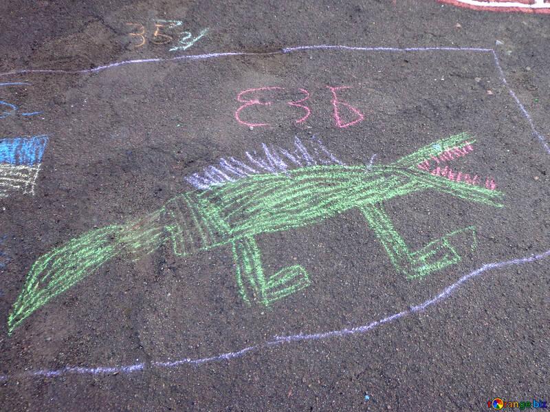 Bambini Gesso Disegni Bambini Disegno Coccodrillo Di Gesso Strada