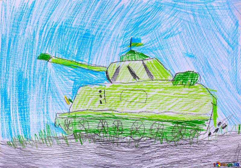 Ukrainian tank child`s drawing №32351