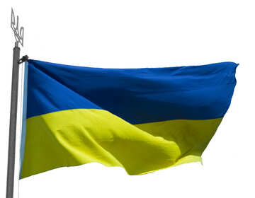 The flag of Ukraine on white background insulated №33621