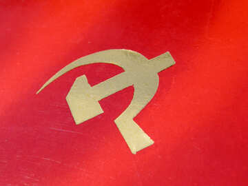 The hammer and sickle on red background №33033